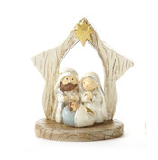 1 Piece Mini Nativity | Resin | Wood Look | Gold Star Accent | 3"