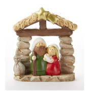 1 Piece Mini Nativity | Resin | Stone Look | Color & Gold Accents | 3"