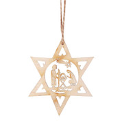 Holy Family Ornament | Star Of David | Nativity | Wood | 4"