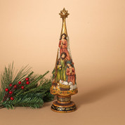 "1 Piece Nativity | Resin | Christmas Tree | Gold Accents | 16"" x 4-1/2"" 