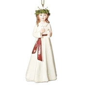Santa Lucia Ornament | Accent Wreath | Red Sash | 4"""