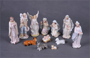 12 Piece Nativity | Resin | Traditional Style | Pastel Colors | 3-1/2"