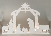 "1 Piece Nativity | Metal | White | Lighted Silhouette  | 14"" x 14-3/4"" x 5"" 