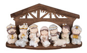 12 Piece Nativity Set | Childlike Figures | Stable  | Resin & Plywood | 10-1/2"