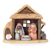 1 Piece Children's Nativity shows Holy Family in Stable with Animals stands 5 and three quarter inches tall DICHNAT237