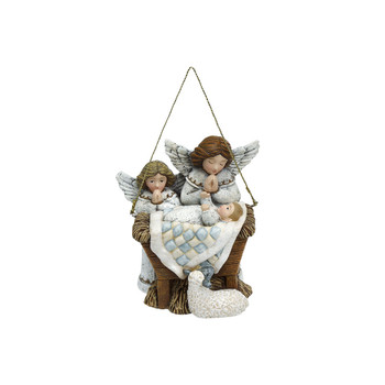 """Baby Jesus with Angels and Lamb Ornament 3.5"""" DEM70435"""
