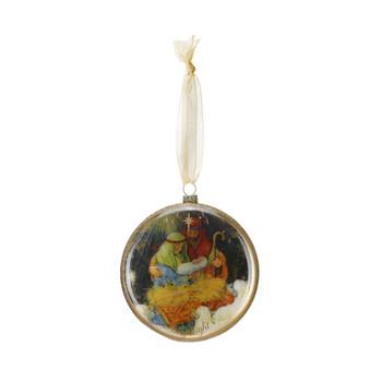 "Holy Family Ornament Glass 4.5"" DEM70438"