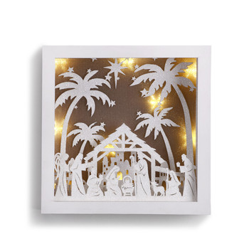 "Nativity Wall Art Box 3 Dimensional Lighted 8"" DEM70139"
