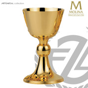 11 ounce chalice measures 6 and 7 eighths inches high with 24 karat gold plate finish made in spain by artistic silver AS5295CGP