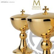 covered ciborium 7-3/4 inches high with 150 host capacity with accent node made in spain by artistic silver AS5296CBGP