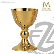 8 ounce communion cup 5 and 1 half inches high with 24 karat gold plate finish made in spain by artistic silver AS529501SCGP