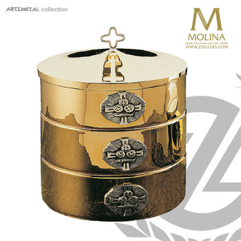 stacking ciborium set includes 3 ciborium with 1 lid holds up to 1200 host from Molina of Spain AS5535SET