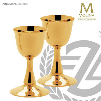 8 ounce communion cup 6 and 1 quarter inches high with 24 karat gold plate finish made in spain by artistic silver as524001scgp