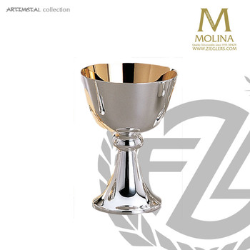 8 ounce chalice stands 5 and 3 quarters inches high with silver plate finish made in spain by artistic silver AS5560CSPGL