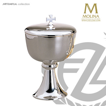 "Ciborium with Lid 6-3/4"" Cup Silver Plated 200 Host Capacity AS5561 Spain"