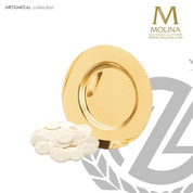 dish paten measures 7 inches in diameter with 24 Karat gold plate finish made by molina of spain AS5564PSPGL