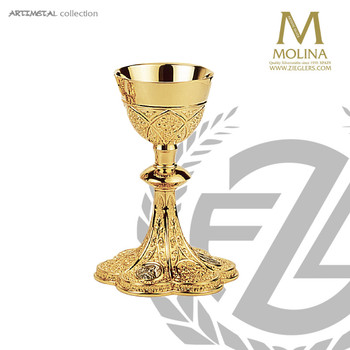 12 ounce chalice in gothic style stands 8 inches high comes with paten made in spain my molina AS5060
