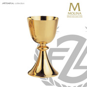 14 ounce chalice stands 7 and 1 quarter inches high with gold plate finish made in spain by artistic silver AS5275