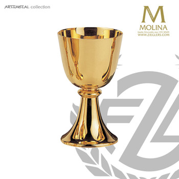 8 ounce communion cup measures 5 and 5 eighths inches high with gold plate finish made in spain by artistic silver AS52751CGP