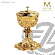 "Ciborium with Lid 4-7/8"" Cup Gold Plated 270 Host Capacity AS5061 Spain"