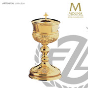 covered ciborium stands 9 and 5 eighths inches high with 220 host capacity has gold plate finish made in spain by artistic silver AS5041CBGP