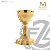 16 ounce chalice stands 8 and 1 half inches high with gold plate finish  comes with scale paten made in spain by artistic silver AS5220