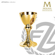 17 ounce chalice stands 8 and 1 quarter inches high select from 2 finishes comes with paten made in spain my molina AS5410