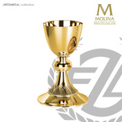 Chalice and Paten with Hand Chiseled Rope Design holds 17 ounces from Molina of Spain AS5415