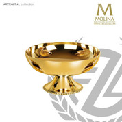open ciborium stands 3 and 1 inches high with choice of 24 karat gold or silver plate finish from Molina of Spain AS5402