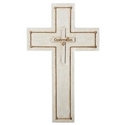 Confirmation Wall Cross with Holy Spirit Dove made from Resin stands 8 and 3 quarters inches high RO46385
