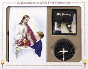 Cathedral mass first communion set with rosary scapular sacrament pin and pouch for boy CB80836B