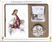 Cathedral mass first communion set with rosary scapular sacrament pin and pouch for girl CB80836G