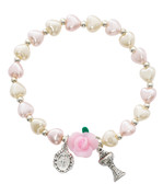 Chalice and Miraculous Charms First Communion Pearl Cream and Pink Heart Beads 6mm MABR737C