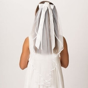Charlotte First Communion Veil with bow and comb headpiece measures 25 inches with Finished Edges RO20417