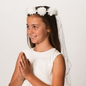 Emily First Communion tulle Veil with flower wreath headpiece measures 30 inches long RO21825 Holy Communion Rosary glass beads Our lady of Grace centerpiece and blessed sacrament crucifix MAR667W