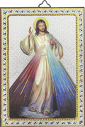 "Divine Mercy Gold and Silver Stamping Wall Plaque 4"" x 5-1/2"" Italy FEA151601GM"