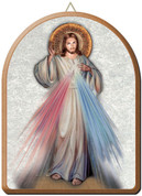 """Divine Mercy Arched Wood Wall Plaque 6"""" x 8"""" Italy FEA152201GM"""