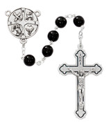 RCIA rosary beads with sacraments centerpiece and black glass beads MAP271R