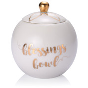 blessings bowl stands 3 and 1 half inches high made of white porcelain with gold lettering and accents ALA222769