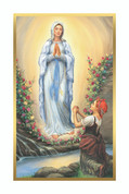 Our Lady of Lourdes Holy Card Paper Style BCHG7001