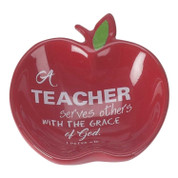 terracotta apple dish with words of 1 peter 4 10 for teacher DITERCOTTRA15