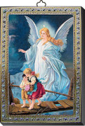 Wood Guardian angel wall plaque with silver and gold accent measures 4 by 5 and 1 half inches made in italy FEA151601AC
