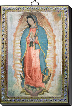 """Our Lady of Guadalupe Gold and Silver Stamping Wall Plaque 4"""" x 5-1/2"""" Italy FEA151601GU"""