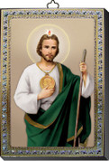 """St Jude Gold and Silver Stamping Wall Plaque 4"""" x 5-1/2"""" Italy FEA151601JU"""