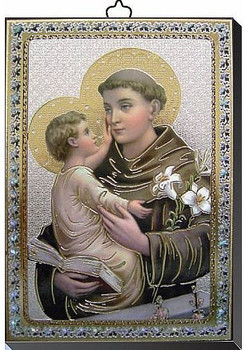 "St Anthony Gold and Silver Stamping Wall Plaque 4"" x 5-1/2"" Italy FEA151601SA"