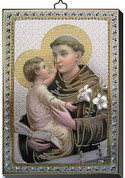"""St Anthony Gold and Silver Stamping Wall Plaque 4"""" x 5-1/2"""" Italy FEA151601SA"""