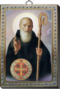 """St Benedict Gold and Silver Stamping Wall Plaque 4"""" x 5-1/2"""" Italy FEA151601SB"""