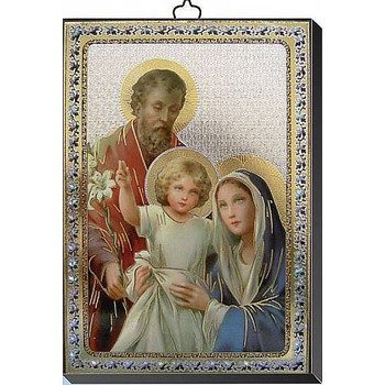"""Holy Family Gold and Silver Stamping Wall Plaque 4"""" x 5-1/2"""" Italy FEA151601SF"""
