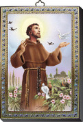 "St Francis Gold and Silver Stamping Wall Plaque 4"" x 5-1/2"" Italy FEA151601SFR"