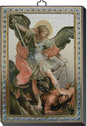 """St Michael Gold and Silver Stamping Wall Plaque 4"""" x 5-1/2"""" Italy FEA151601SM"""